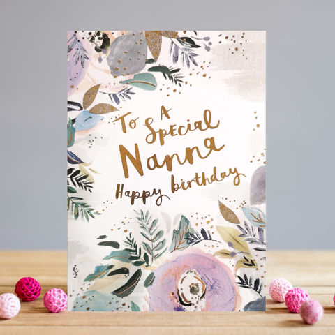 Floral,To,A,Special,Nanna,Happy,Birthday,Card,buy Nanna birthday card online, buy pretty nanna birthday card online with flowers, buy special cards for grandmas online from grandchild grandchildren granddaughter grandson, grandma mothers day card, mothering sunday cards for grandma