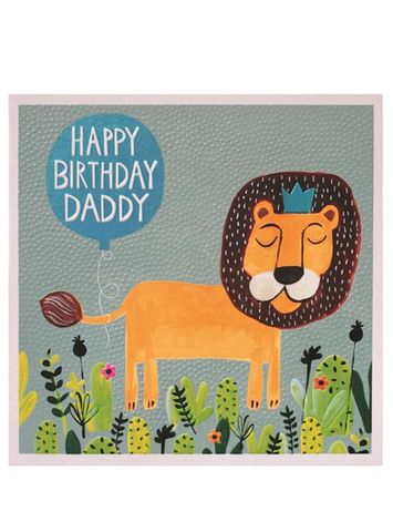 Lion,Daddy,Happy,Birthday,Card,buy daddy birthday cards  online, buy birthday cards for daddies with lions jungle animals, large daddy cards, buy special daddy Dad parent cards online from children child son daughter,