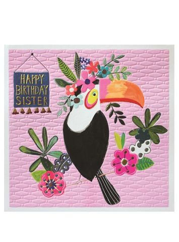 Toucan,Sister,Happy,Birthday,Card,buy sister birthday cards  online, buy birthday cards for sisters with jungle birds toucan flowers,  large sister birthday cards, buy special sister cards online from Brother bro sibling sis sister