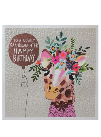 Giraffe,Granddaughter,Happy,Birthday,Card,buy granddaughter birthday cards online, buy birthday cards for grandchild with jungle animals giraffe flowers,  large grand-daughter birthday cards, buy special granddaughter cards online from Grandma and grandad grandparents nanny nanna grandpa Nan gran