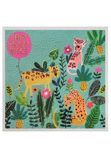 Big,Cats,Niece,Happy,Birthday,Card,buy niece birthday cards online, buy birthday cards for niece with jungle animals big cats leopard jaguar flowers,  large niece  birthday cards, buy special niece cards online from aunty and uncle aunt auntie uncles aunties