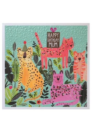 Big,Cats,Mum,Happy,Birthday,Card,buy mum birthday cards online, buy birthday cards for mum with jungle animals big cats leopard jaguar flowers,  large mum birthday cards, buy special mum cards online from children child son daughter