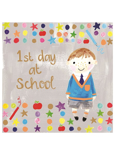 buy childrens first dat at school good luck  cards online for boy girl 1st day at big school uni cards