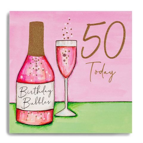 Hand,Finished,Birthday,Bubbles,50th,Card,buy 50th birthday card for her online, buy cocktails birthday drinks age fifty birthday cards online, buy pink champagne birthday bubbles fiftieth birthday cards online, buy luxury 50th cards online,buy age fifty 50 birthday cards online, buy age 50 cards