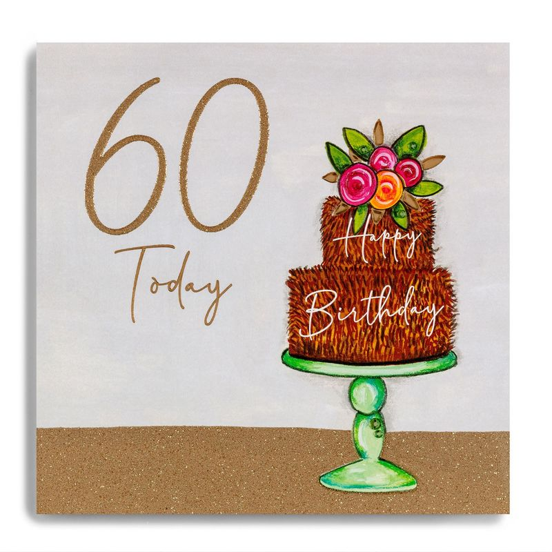 Hand Finished Chocolate Cake 60th Birthday Card - product images