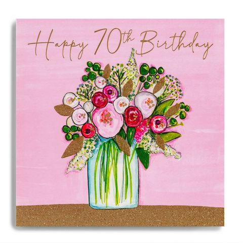 Hand,Finished,Vase,Of,Flowers,70th,Birthday,Card,buy 70th birthday card for her online, buy floral age seventy birthday cards online, buy birthday flowers seventieth  birthday cards online, buy luxury 70th cards onlin with flowers, ,buy age seventy, seventieth, 70 birthday cards online for her