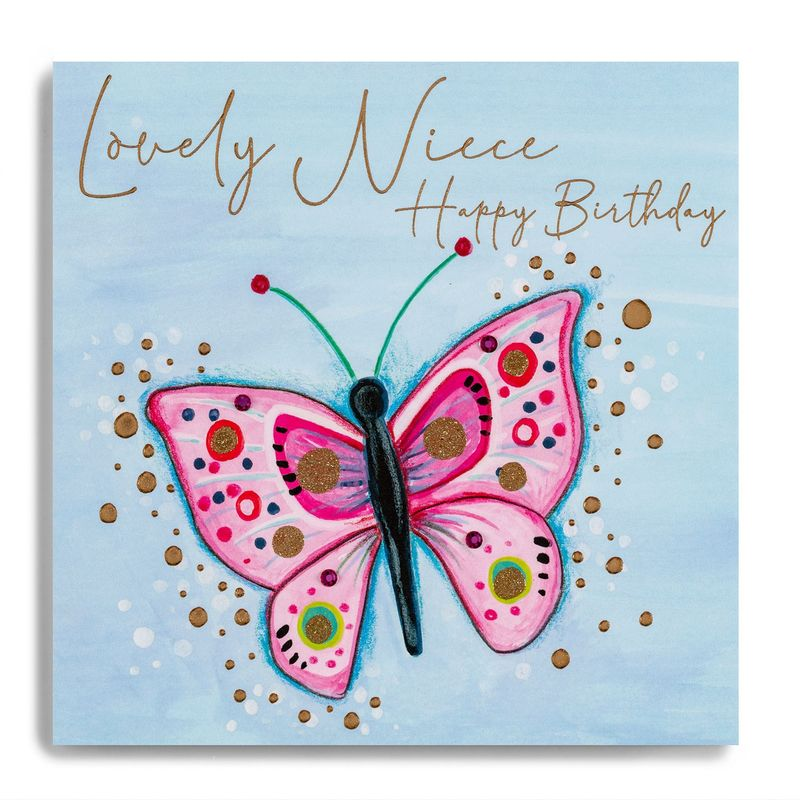 Hand Finished Butterfly Niece Birthday Card - product images