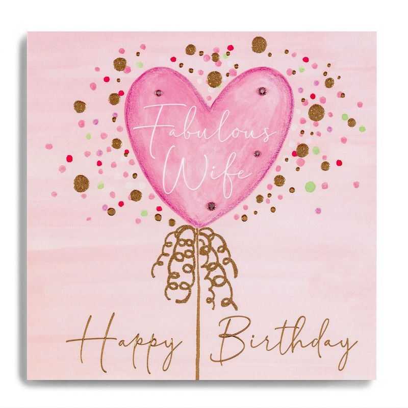 Hand Finished Pink Balloon Wife Birthday Card - product images