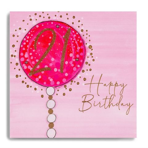 Hand,Finished,Pink,Balloon,21st,Birthday,Card,buy 21st birthday card for her online, buy twenty first birthday cards online with pink balloon, pretty twenty first birthday cards, buy age twenty one female birthday cards online, buy pretty 21st birthday cards online