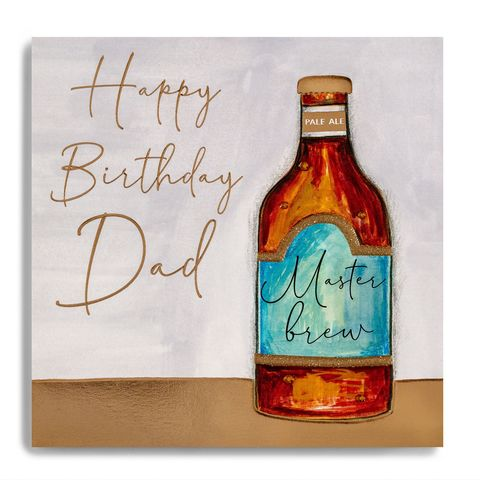 Hand,Finished,Bottle,Of,Ale,Dad,Birthday,Card,buy dad birthday card online, buy master brew dad birthday cards online, buy dad birthday cards online from daughter son child children, buy luxury dad birthday card with beer pint bottle of ale drinks online, buy special dad cards