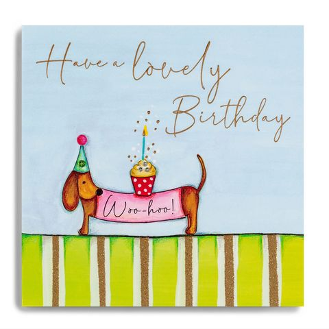 Hand,Finished,Sausage,Dog,Birthday,Card,buy sausage dog birthday card online, buy dog  birthday cards with dogs cake online, buy female birthday card online with dogs,  buy luxury dog birthday card  online, buy special birthday card for her online