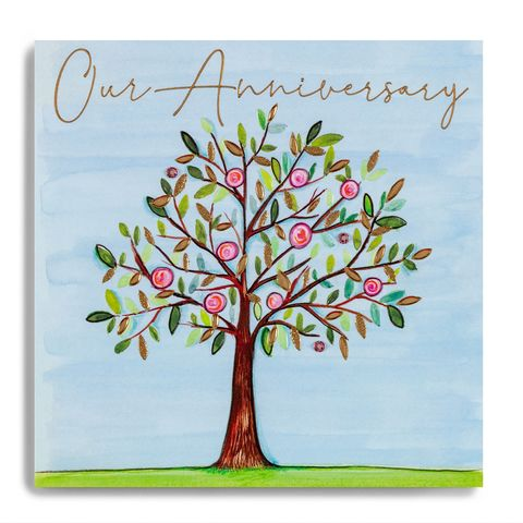 Hand,Finished,Tree,Our,Anniversary,Card,buy on our anniversary card online, buy wife anniversary cards online, buy husband anniversary cards online from wife husband, buy special wedding anniversary cards for partner wife husband, buy pretty anniversary cards with tree online