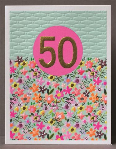 Floral,50th,Happy,Birthday,Card,buy 50th birthday cards for her online, buy floral age fifty birthday cards online, buy pretty fiftieth  birthday cards for her online, buy 50th birthday cards with flowers onlin