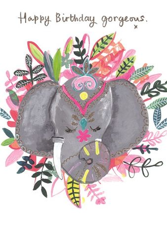 Elephant,Happy,Birthday,Gorgeous,Card,buy elephant  birthday cards for her online, buy elephant gorgeous birthday cards online, buy pretty animal and flowers birthday cards for her female girls online