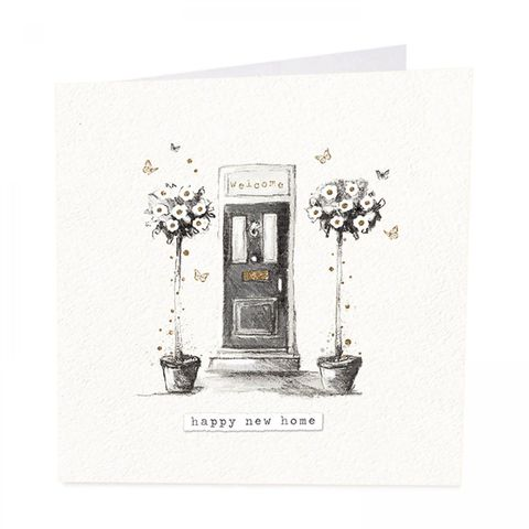 Front,Door,&,Flowers,Happy,New,Home,Card,buy welcome to your new home cards online, buy front door flowers garden butterflies happy new home cards online, buy new house address cards for friends family relations, buy moving to new house cards online