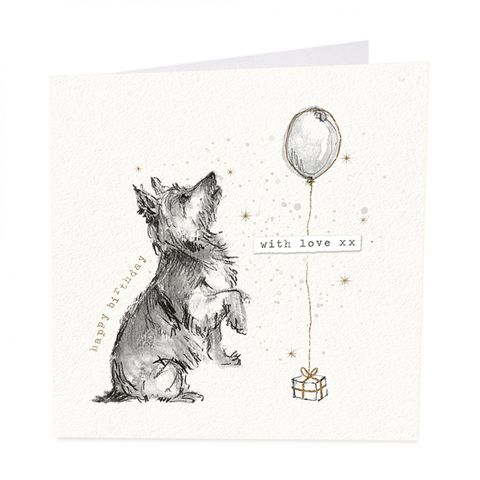 Dog,&,Present,Happy,Birthday,Card,buy west highland terrier birthday cards online, buy westie terrie dog cards online, buy dog present and balloon birthday cards online for him  her unsex, buy pretty dog cards online for special birthday