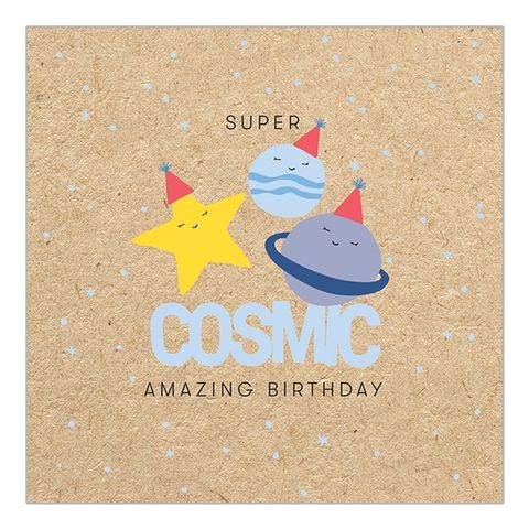 Super,Cosmic,Planets,&,Stars,Birthday,Card,buy outer space birthday card online, buy cute fun birthday cards online for him her unisex gender neutral, buy cosmic planets stars space birthday cards buy online, super cosmic space male birthday cards, mens birthday cards with planets