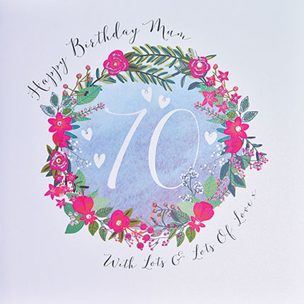 buy mum 70th large luxury handmade birthday cards online at karenza paperie pretty mum cards floral age seventy seventieth 70 cards for mums