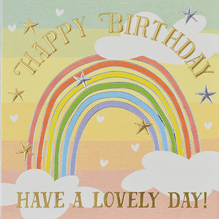 Rainbow,&,Stars,Happy,Birthday,Card,buy birthday cards for her online, buy female birthday cards with rainbows online, buy rainbow birthday cards online, buy gender neutral birthday cards online, buy birthday cards with rainbows online, rainbow birthday cards