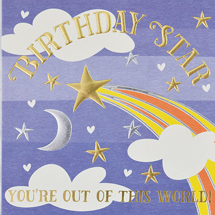 Stars,&,Moon,Birthday,Star,Card,buy birthday cards for him online, buy male birthday cards with stars online, buy star birthday cards online, buy gender neutral birthday cards online, buy birthday cards for kids  online, sun birthday card