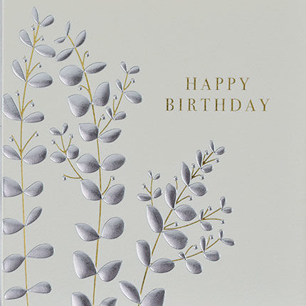 Botanical,Leaves,Happy,Birthday,Card,buy birthday cards for her online, buy female birthday cards with flowers online, buy floral leaves birthday cards online, buy gender neutral birthday cards online, buy birthday cards with rainbows online, rainbow birthday cards
