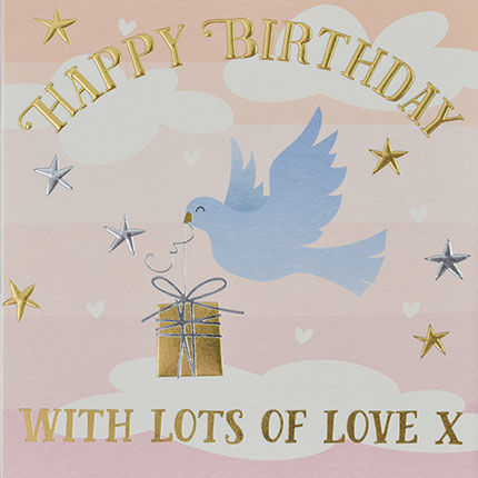 Bird,&,Present,Happy,Birthday,Card,buy birthday cards for her online, buy female birthday cards with bird online, buy bird and present birthday cards online, buy pretty girls birthday cards online, buy birthday cards with rainbows online, rainbow birthday cards