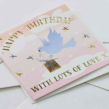 Bird & Present Happy Birthday Card - product images  of