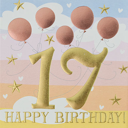 Pink,Balloons,Happy,17th,Birthday,Card,buy 17th birthday cards for her online, buy age seventeen female birthday cards online, buy bird and present birthday cards online, buy pretty girls seventeenth birthday cards, age seventeen birthday capes for her, 17th birthday card with balloons
