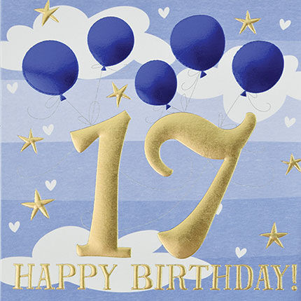 Blue,Balloons,Happy,17th,Birthday,Card,buy 17th birthday cards for Him online, buy age seventeen male birthday cards online, buy boys 17th birthday cards online, buy boys seventeenth birthday cards, age seventeen birthday cards for her, 17th birthday card with balloon