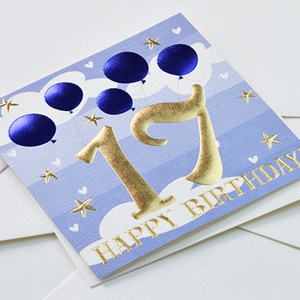 Blue Balloons Happy 17th Birthday Card - product images  of