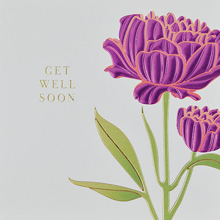 Botanical Pink Flower Get Well Soon Card - product images  of