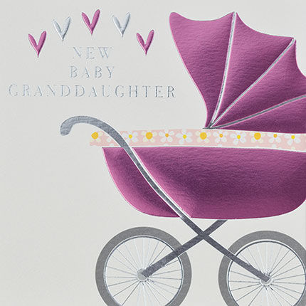 New Baby Granddaughter Pink Pram Card - Grandparent New Baby Card - product images  of