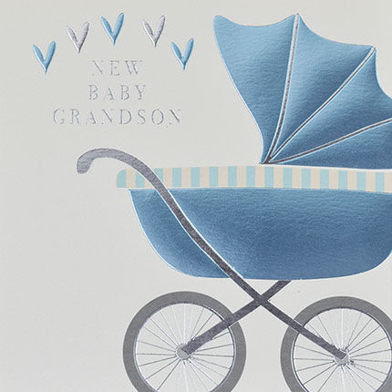 New,Baby,Grandson,Blue,Pram,Card,-,Grandparent,buy new baby grandchild card online for congrats new grandparents grandparent grandma grandad, buy new baby grandson cards with pram blue hearts online, buy new baby card online, buy congratulations new grandparent card online,