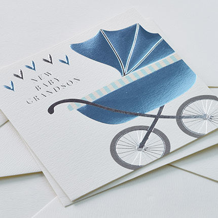 New Baby Grandson Blue Pram Card - Grandparent New Baby Card - product images  of