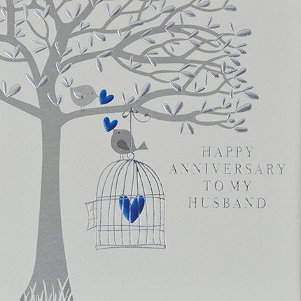 To,My,Husband,Happy,Anniversary,Blue,Birds,Card,-,On,Our,buy on our wedding anniversary card online for my husband from husband from wife, special husband happy anniversary card, birds and birdcage happy wedding anniversary cards, special anniversary cards with blue birds birdcage tree heart