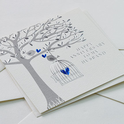 To My Husband Happy Anniversary Blue Birds Card - On Our Anniversary Card - product images  of