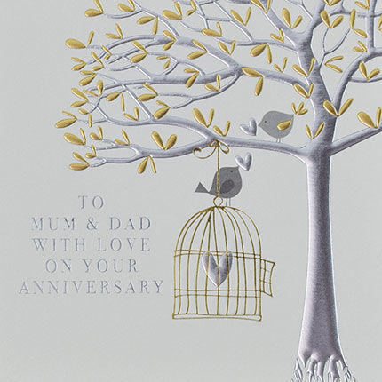 Mum,And,Dad,Happy,Anniversary,Birds,Card,-,On,Your,Wedding,buy on your wedding anniversary card online for my parents mum and dad from child daughter son children, special parents happy anniversary card, birds and birdcage happy wedding anniversary cards, special anniversary cards with birds birdcage tree heart f