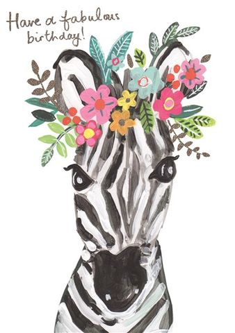 Zebra,Fabulous,Birthday,Card,buy zebra birthday cards for her online, buy zebra gorgeous birthday cards online, buy pretty animal and flowers birthday cards for her female girls online
