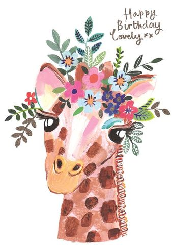Giraffe,Lovely,Birthday,Card,buy giraffe birthday cards for her online, buy giraffe gorgeous birthday cards online, buy pretty animal and flowers birthday cards for her female girls online