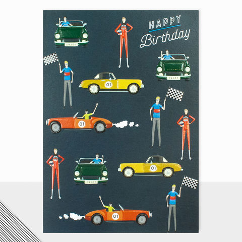 Classic,Cars,Happy,Birthday,Card,buy car birthday cards online for him, buy male birthday cards online, buy mens birthday cards with cars racing classic race car divers f1 car race cards, buy birthday cards for granddads online, buy grandad birthday card online, buy birthday cards for pa