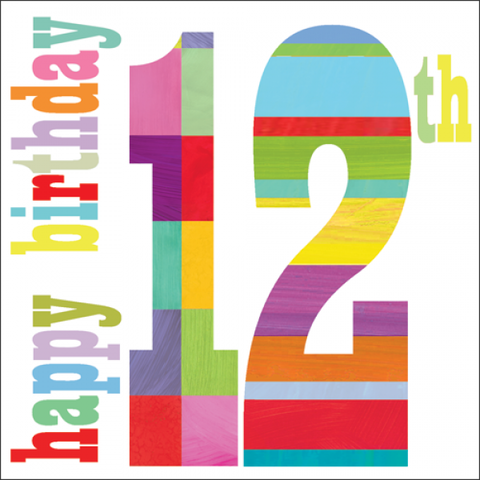 Happy,12th,Birthday,Card,buy 12th birthday card online, buy girls 12th birthday cards online, age twelve birthday cards, buy boys age ten birthday card online