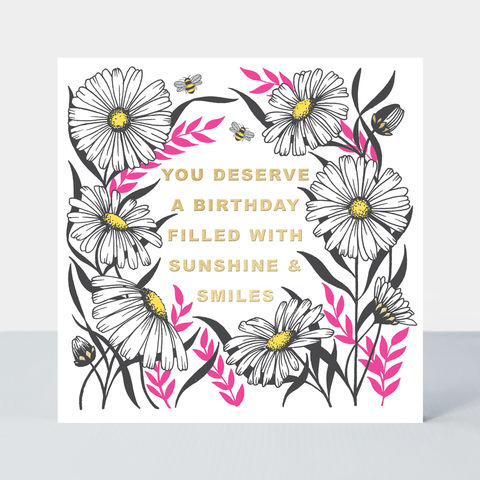 Daisies,Sunshine,and,Smiles,Birthday,Card,buy special floral birthday cards online, buy birthday cards with flowers for her online, buy female birthday cards with flowers daisies daisy gardening online