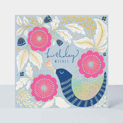 Bird,And,Pink,Flowers,Birthday,Card,buy bird and flowers pretty birthday card for her online, pretty birthday cards with birds flowers floral nature, female birthday cards with flowers, pretty birthday cards for her buy online,