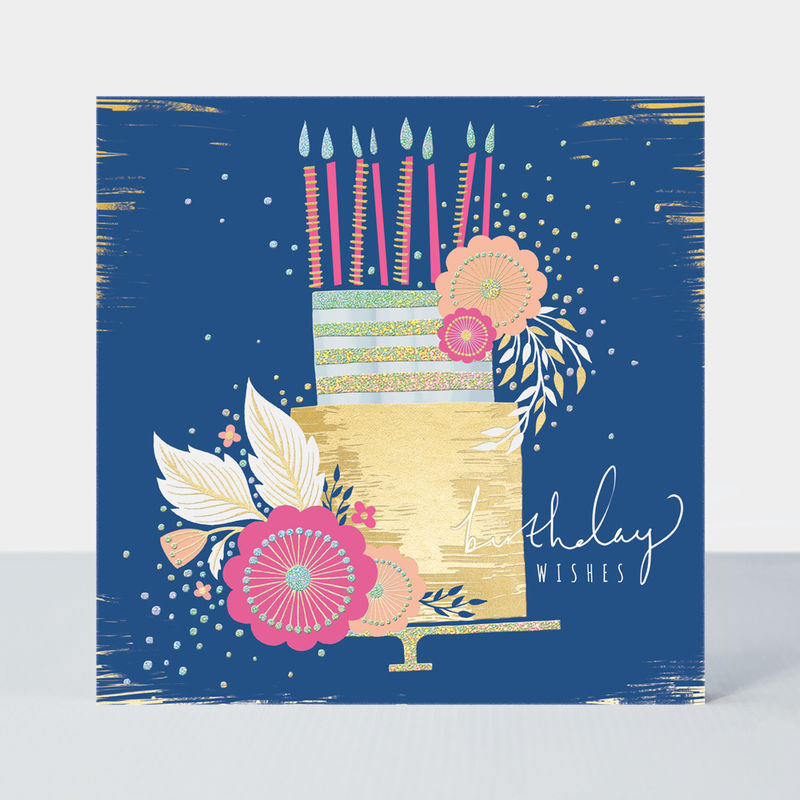 Navy Birthday Cake And Pink Flowers Birthday Card - product images  of