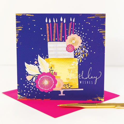 Navy,Birthday,Cake,And,Pink,Flowers,Card,buy birthday cake and flowers pretty birthday card for her online, pretty birthday cards with birthday cake and candles buy online, female birthday cards with flowers, pretty birthday cards for her buy online,