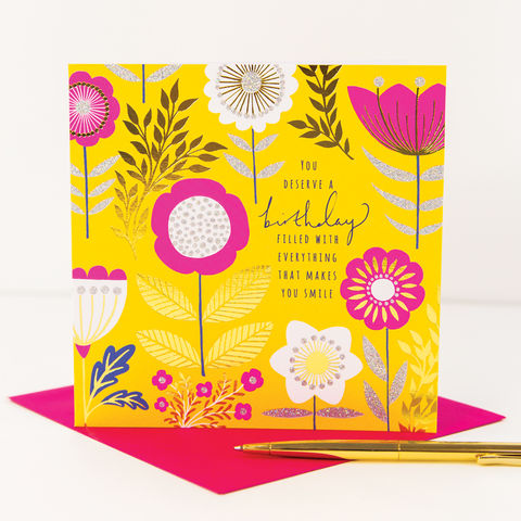 You,Deserve,A,Birthday,Filled,With,everything,that,makes,you,smile,birthday,Card,buy birthday card with flowers online, buy pretty birthday card for her online, pretty birthday cards with birthday cake and candles buy online, female birthday cards with flowers, pretty birthday cards for her buy online,