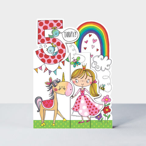 Concertina,Princess,5th,Birthday,Card,buy princess birthday card for 5th birthday online , buy birthday princess birthday cards for girls age five online, buy pink princess party birthday cards online, buy pink princess cards for girls 5th birthday online, buy unicorn cards for kids online