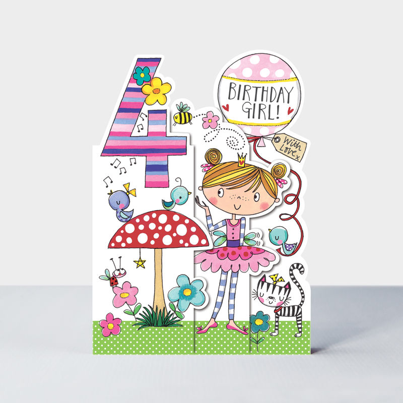 Concertina Fairy And Toadstool 4th Birthday Card - product images  of