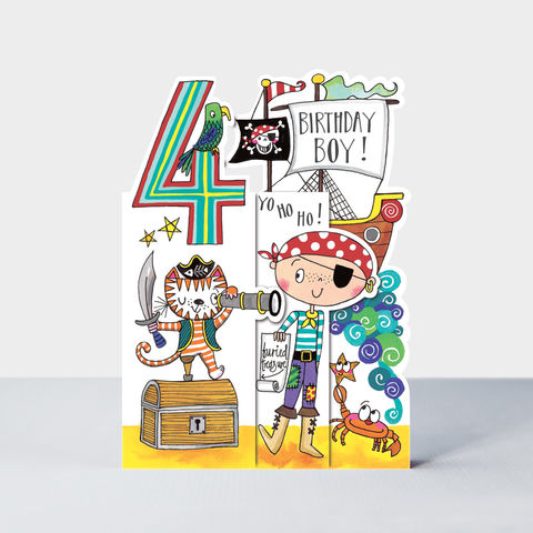 Concertina,Pirate,and,Treasure,Chest,4th,Birthday,Card,buy pirate birthday card for 4th birthday online , buy 4th birthday cards for boys with pirates online, buy pirate age four birthday cards online, buy pirate card for boys 4th birthday online, buy pirate  cards for kids online