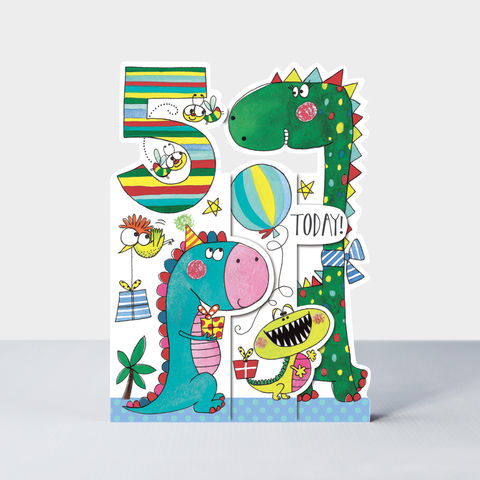 Concertina,Dinosaur,5th,Birthday,Card,buy dinosaur birthday card for 5th birthday online , buy dinosaur birthday cards for girls boys kids child age five online, buy dinosaur unisex birthday cards online, buy 5th birthday online with dinosaur,
